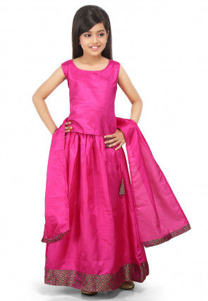 Plain Art Silk Lehenga in Fuchsia