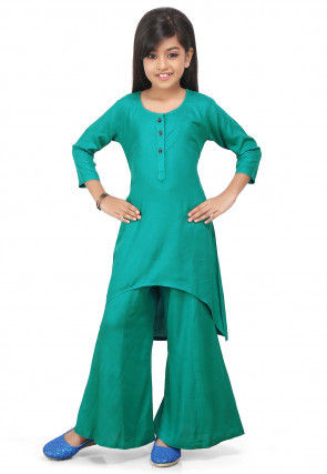 Plain Rayon Asymmetric Suit in Teal Green