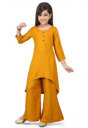 Plain Rayon Asymmetric Suit in Mustard