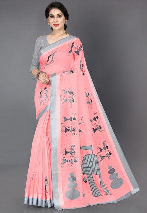 Warli Printed Cotton Saree in Peach