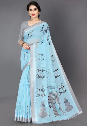 Warli Printed Cotton Saree in Sky Blue