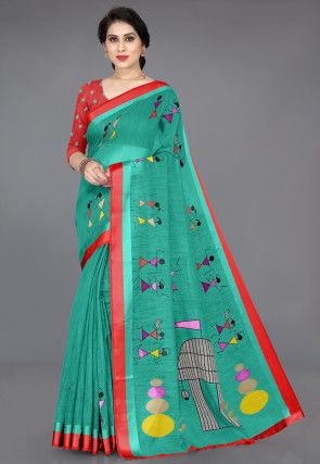 Warli Printed Cotton Saree in Teal Green