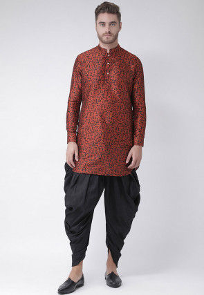 Warli Printed Dupion Silk Dhoti Kurta in Dark Orange
