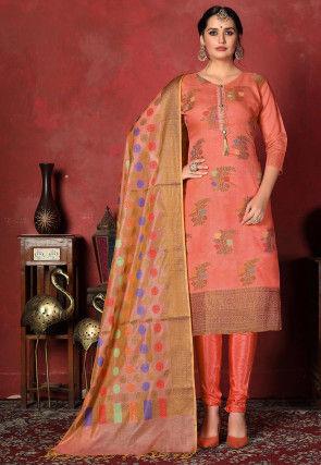 Woven Chanderi Silk  Straight Suit in Orange