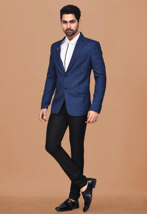 Woven Acrylic Cotton Suit Set in Dark Blue