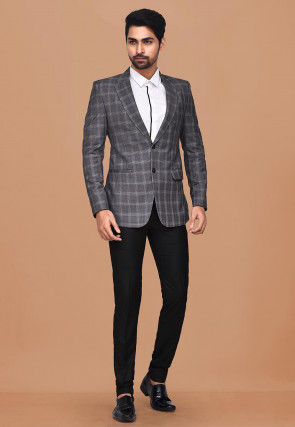 Woven Acrylic Cotton Suit Set in Dark Grey