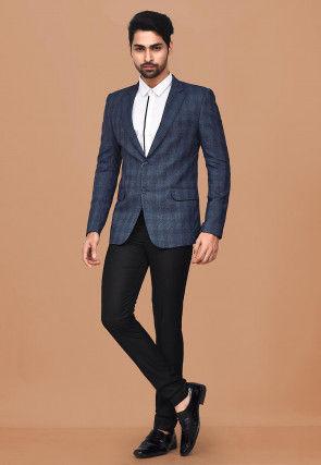 Woven Acrylic Cotton Suit Set in Dusty Blue