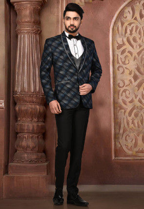 Woven Acrylic Cotton Tuxedo in Grey and Black