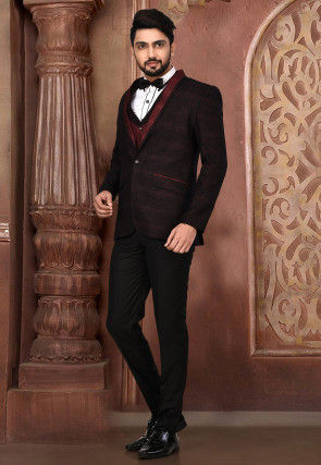 Woven Acrylic Cotton Tuxedo in Maroon and Black