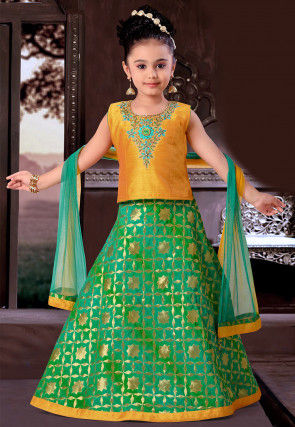 Woven Art Brocade Silk Circular Lehenga in Green