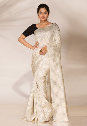 Woven Art Katan Silk Saree in Off White