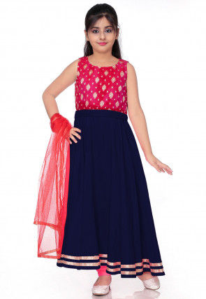 Woven Art Silk Abaya Style Suit in Navy Blue and Fuchsia