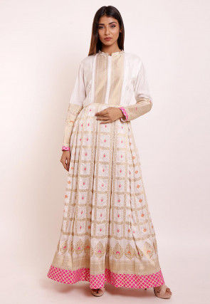 Woven Art Silk Anarkali Kurta in Off White