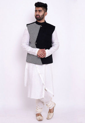 Woven Art Silk Asymmetric Kurta Jacket Set in White and Black