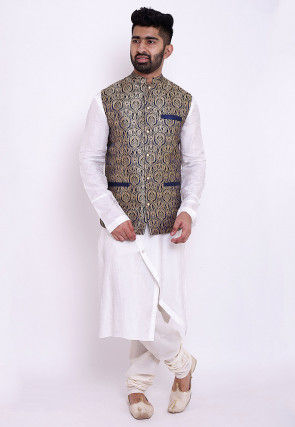 Woven Art Silk Asymmetric Kurta Jacket Set in White and Blue