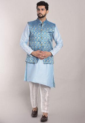 Woven Art Silk Asymmetric Kurta Set in Light Blue