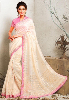 Woven Art Silk Brasso Saree in Off White