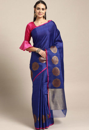 Woven Art Silk Brocade Saree in Dark Blue