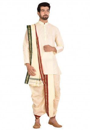 Woven Art Silk Dhoti Kurta Set in Cream