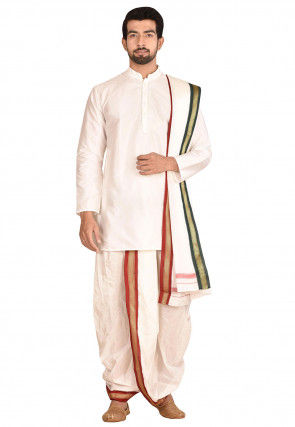 Woven Art Silk Dhoti Kurta Set in White