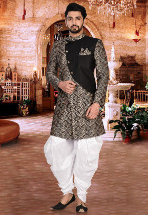Woven Art Silk Dhoti Sherwani in Black and Beige and Off White