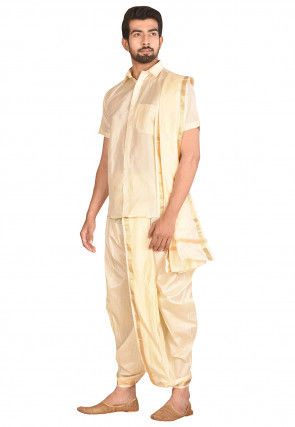 Woven Art Silk Dhoti Shirt Set in Cream