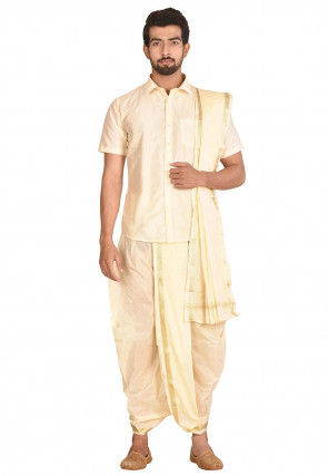 Woven Art Silk Dhoti Shirt Set in Cream