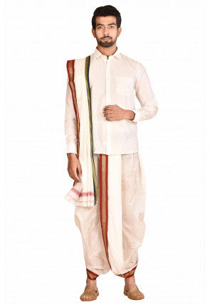 Woven Art Silk Dhoti Shirt Set in White