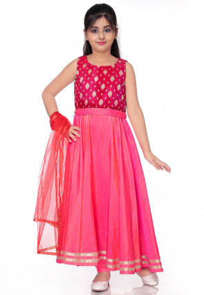 Woven Art Silk Dual Tone Abaya Style Suit in Shaded Pink and Fuchsia