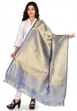 Woven Art Silk Dupatta in Blue