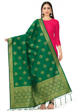Woven Art Silk Dupatta in Dark Green