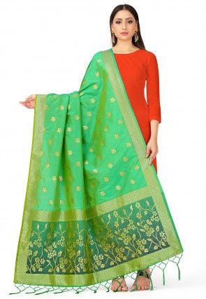 Woven Art Silk Dupatta in Green