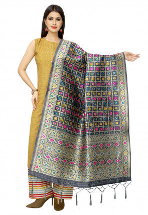 Woven Art Silk Dupatta in Grey
