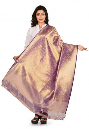 Woven Art Silk Dupatta in Light Purple
