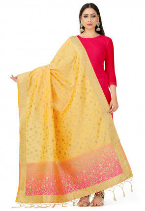 Woven Art Silk Dupatta in Light Yellow