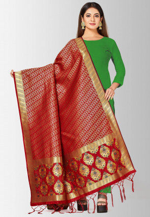 Woven Art Silk Dupatta in Maroon