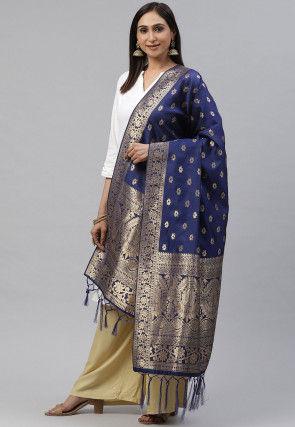 Woven Art Silk Dupatta in Navy Blue
