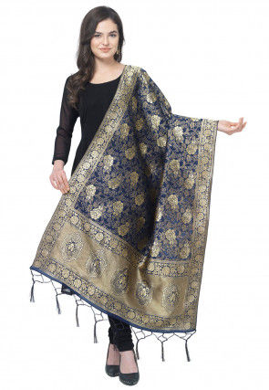 Woven Art Silk Dupatta in Navy Blue
