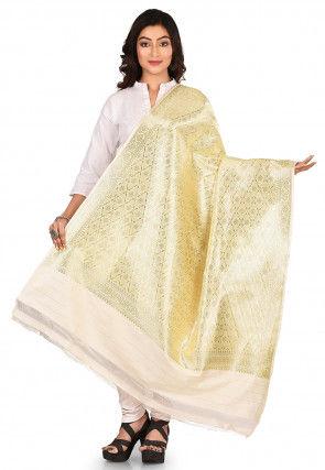 Woven Art Silk Dupatta in Off White and Golden