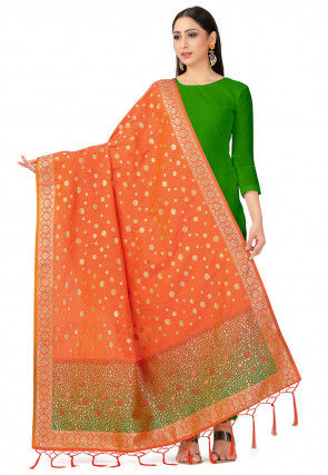 Woven Art Silk Dupatta in Orange