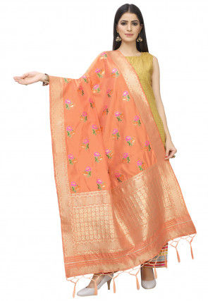 Woven Art Silk Dupatta in Peach