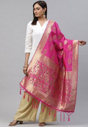 Woven Art Silk Dupatta in Pink