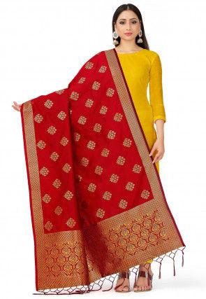Woven Art Silk Dupatta in Red
