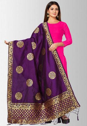 Woven Art Silk Dupatta in Violet