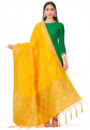 Woven Art Silk Dupatta in Yellow