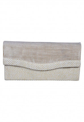 Woven Art Silk Flap Clutch Bag in Off White