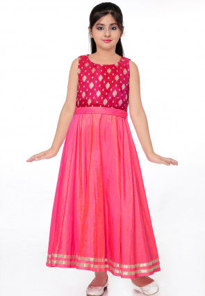 Woven Art Silk Flared Gown in Shaded Pink and Fuchsia
