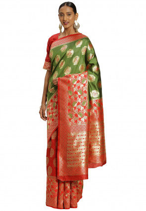 Woven Art Silk Half N Half Saree in Olive Green and Red
