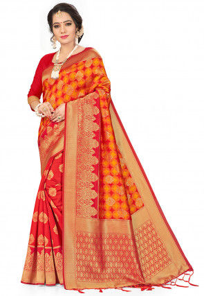 Woven Art Silk Half N Half Saree in Orange and Red