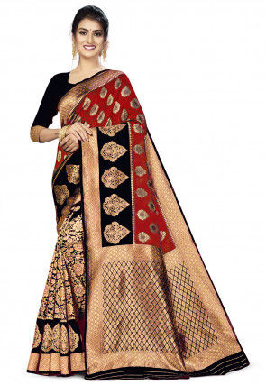 Woven Art Silk Half N Half Saree in Red and Black